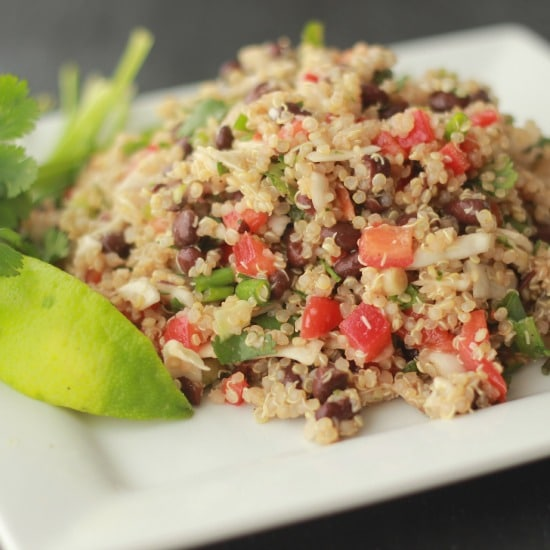 Quinoa and Cabbage Salad with Lime and Cilantro - Baker Bettie