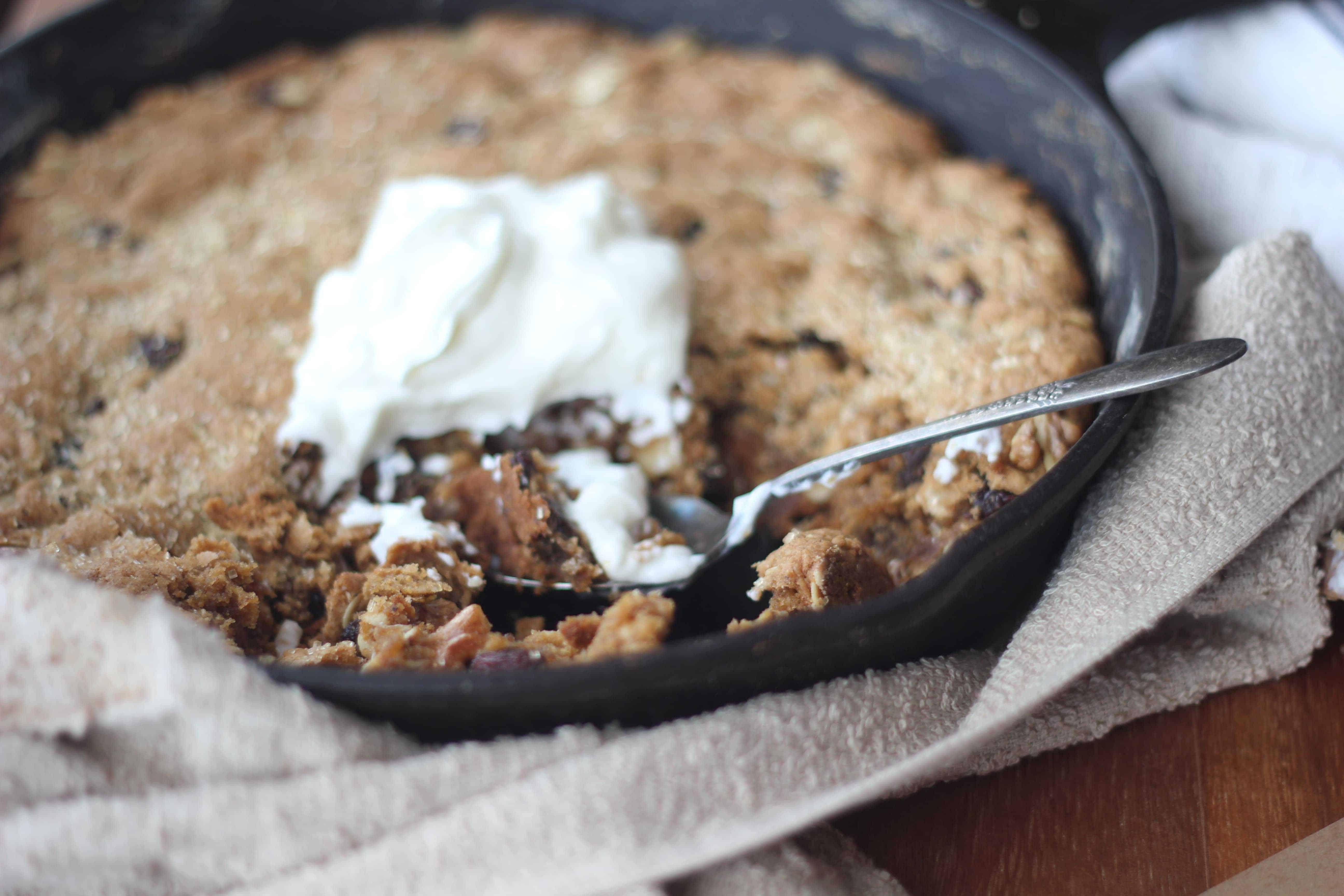 One Pan Breakfast Maple Oatmeal Raisin Skillet Cookie