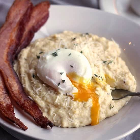 Creamy Breakfast Polenta with Poached Eggs- Baker Bettie
