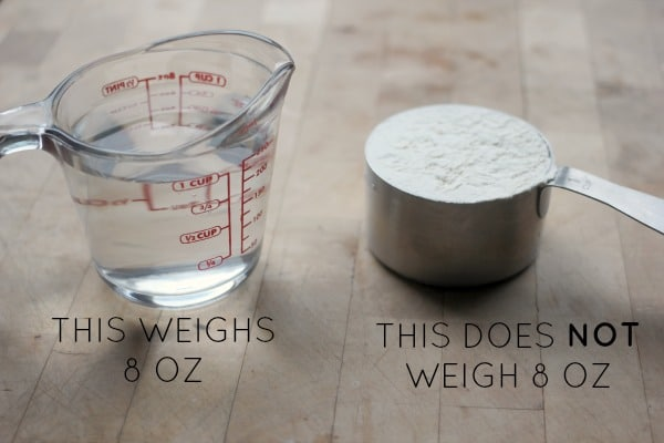 Showing the difference between fluid ounces and weight onces
