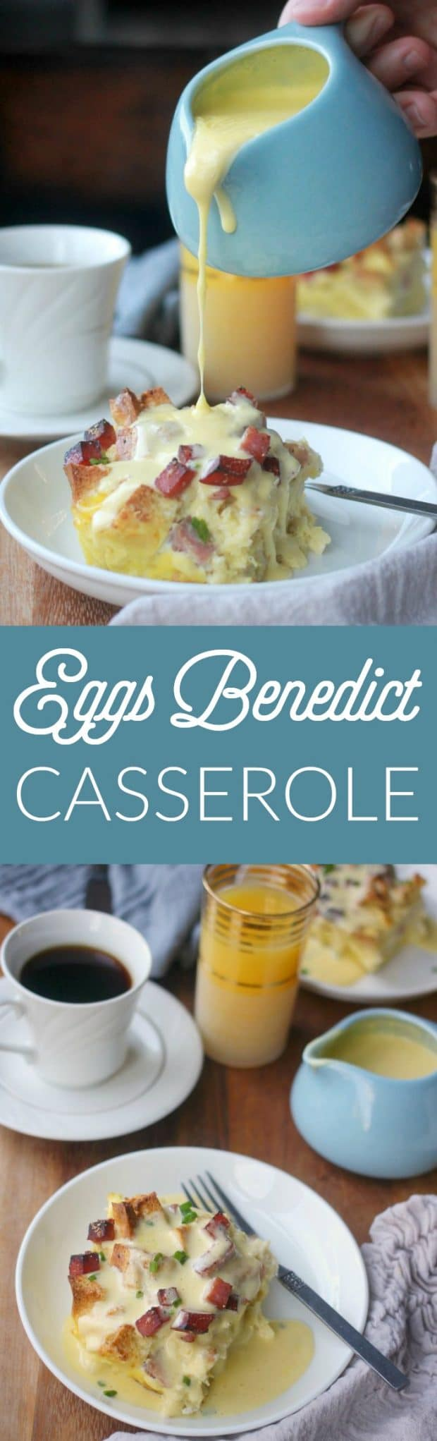 Overnight eggs benedict casserole is my solution to wanting to serve eggs benedict at brunch but not wanting to be standing over the stove poaching eggs. No poaching required here! Just a silky baked custard over cubed english muffins with canadian bacon and a rich hollandaise sauce to finish!