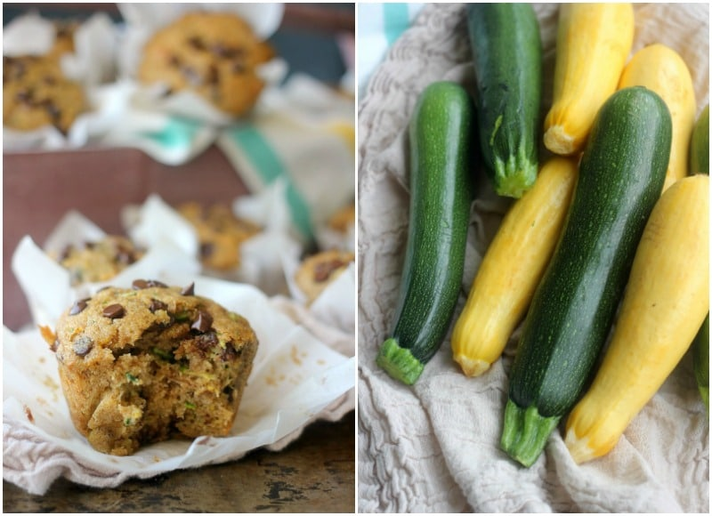 Whole Wheat Summer Squash Chocolate Chip Muffins - Baker Bettie