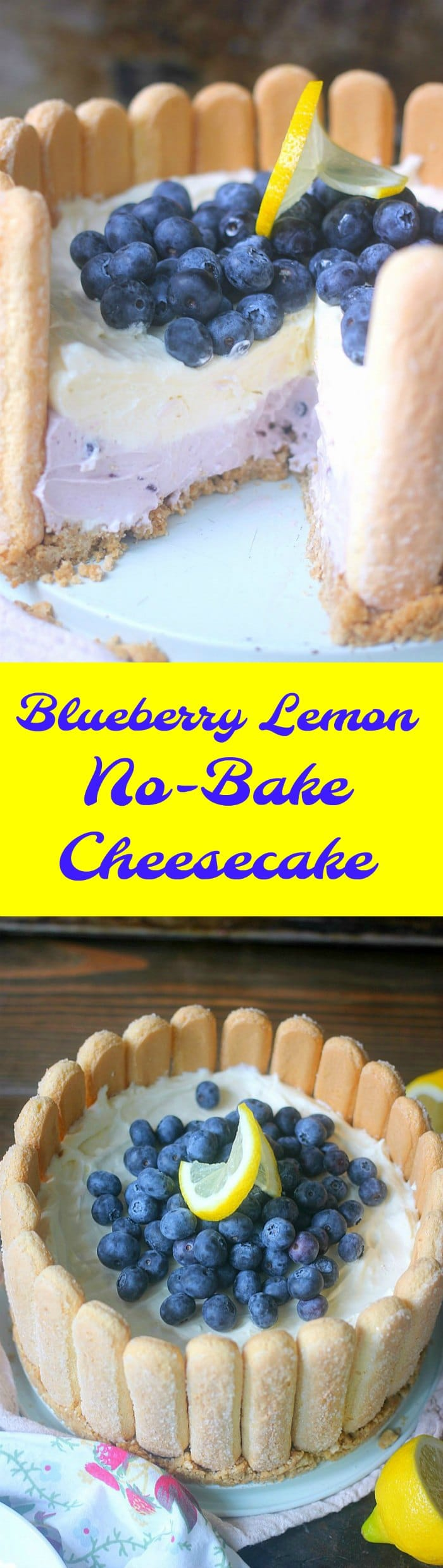 Blueberry Lemon No-Bake Cheesecake