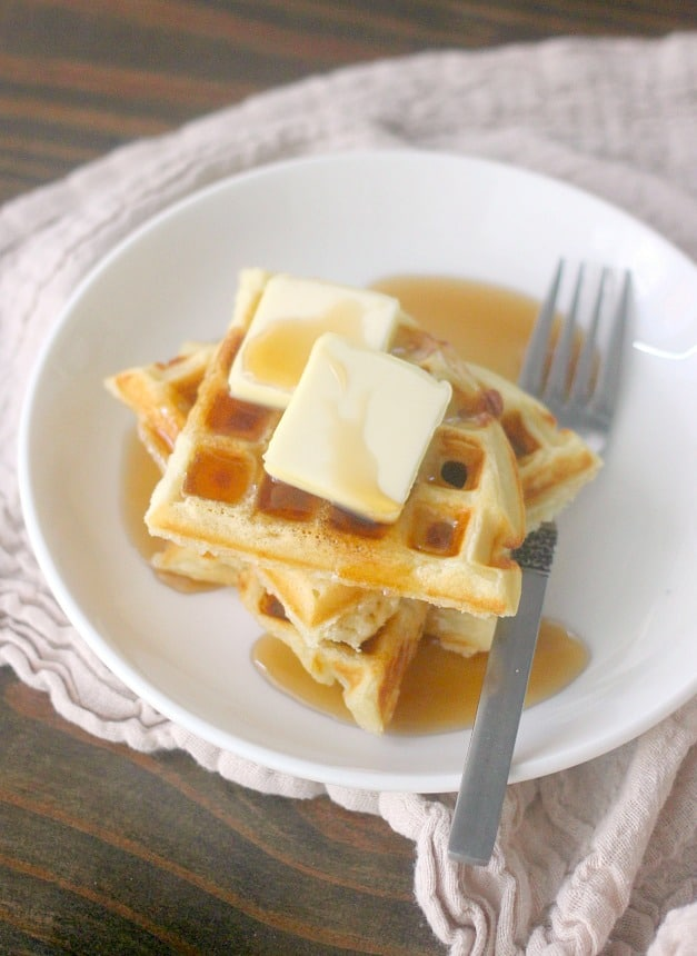 This Easy Waffle Recipe is the only waffle recipe you will ever need! This quick waffle recipe can be used for simple classic waffles or can be used to make endless variations of waffle flavors!