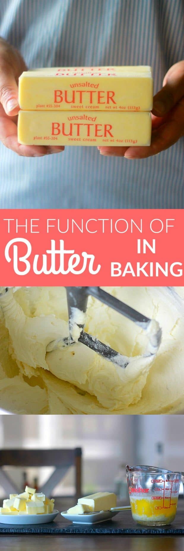 Understanding the function of butter in baking can be incredibly useful in becoming a better baker! Butter is a key ingredient in many baked goods. Having a grasp on the science of butter's various roles in baking is beneficial in using butter more successfully to create beautiful pastries and baked goods.