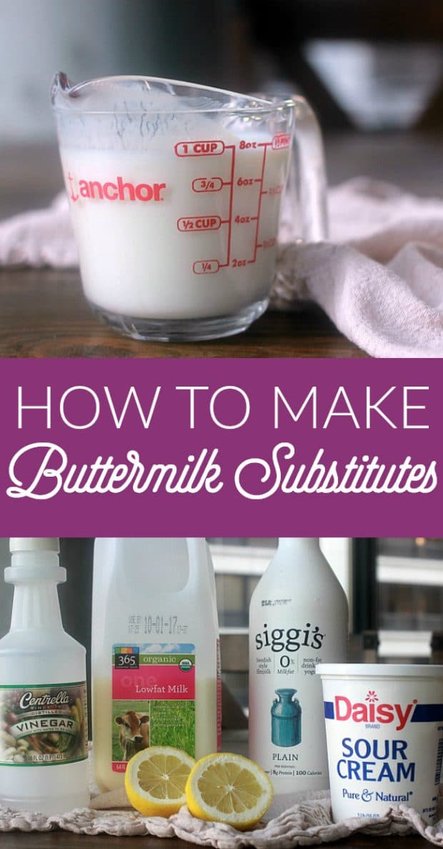 If you ever find yourself in a pinch and need buttermilk but do not have any on hand, it is very easy to make a buttermilk substitute. There are several options for making a buttermilk substitute with common ingredients from your refrigerator and pantry!