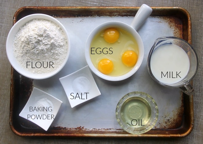 Ingredients for basic quick bread: flour, eggs, salt, baking powder, oil, milk