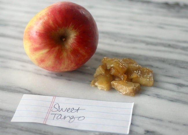 Sweet Tango apple next to Sweet Tango apple pie filling tester