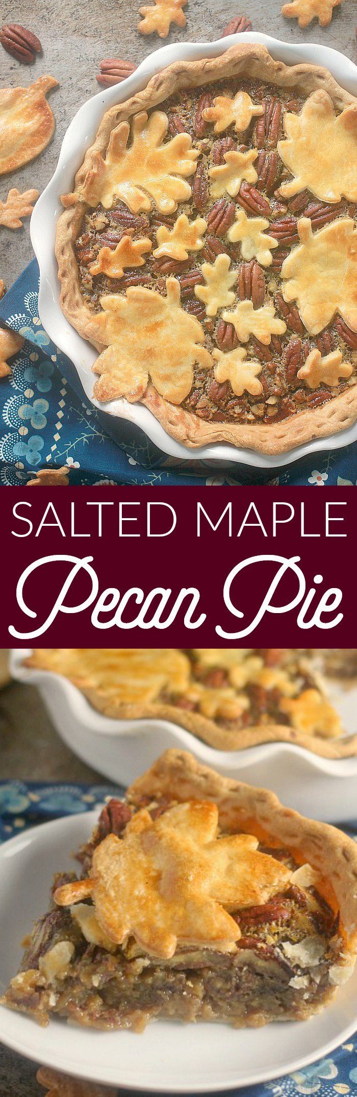 Maple Syrup, bourbon, and toasted pecans create an incredible depth of flavor in this Salted Maple Pecan Pie. You won't get any complaints that the pecan pie is too sweet with this version!
