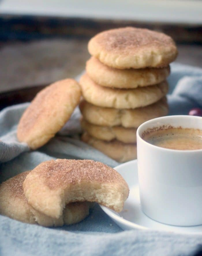 Snickerdoodle cookies with coffee