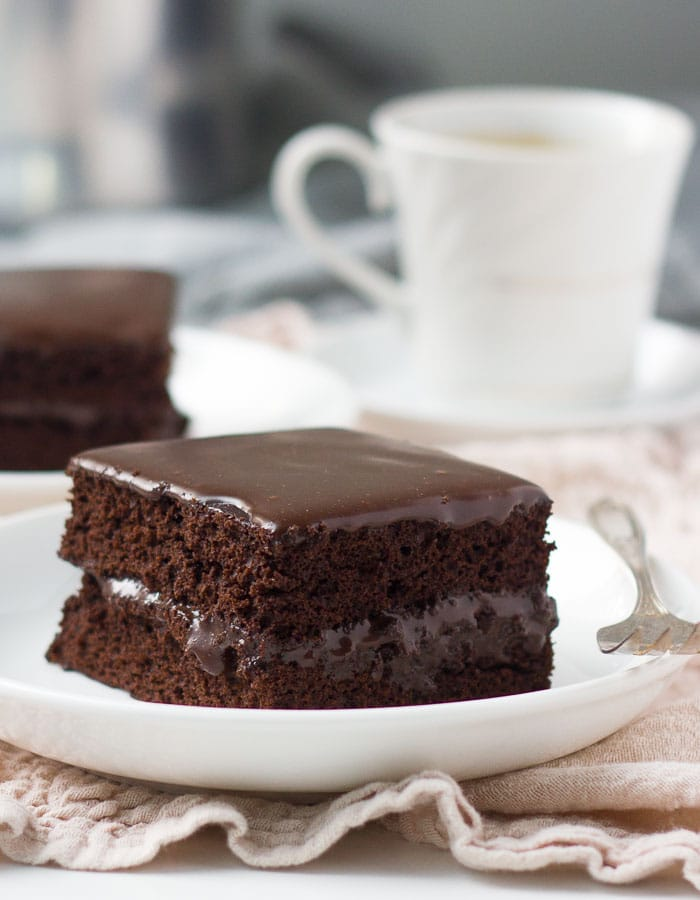 Piece of chocolate fudge cake on plate