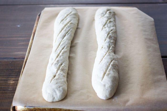 Baking terminology demonstration: scoring