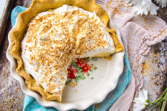Sliced homemade coconut cream pie