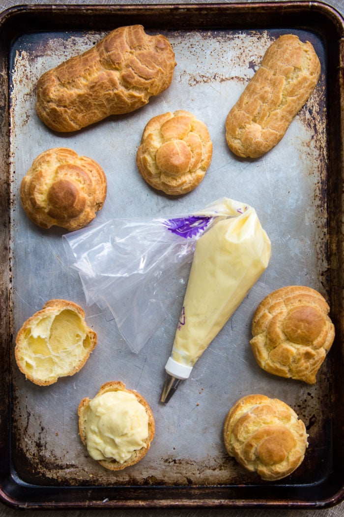 Pastry cream with cream puff shells and eclairs