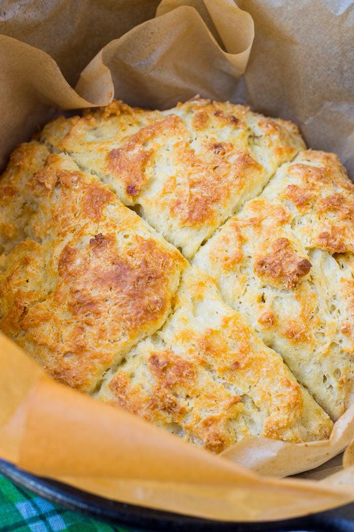Baked Irish soda bread in dutch oven