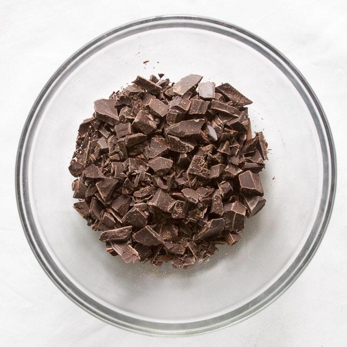 Chopped semi-sweet chocolate for ganache