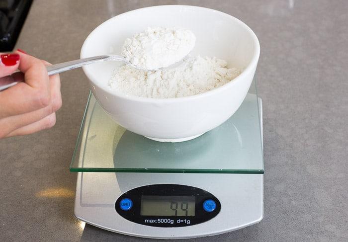 Measuring flour using a digital scale