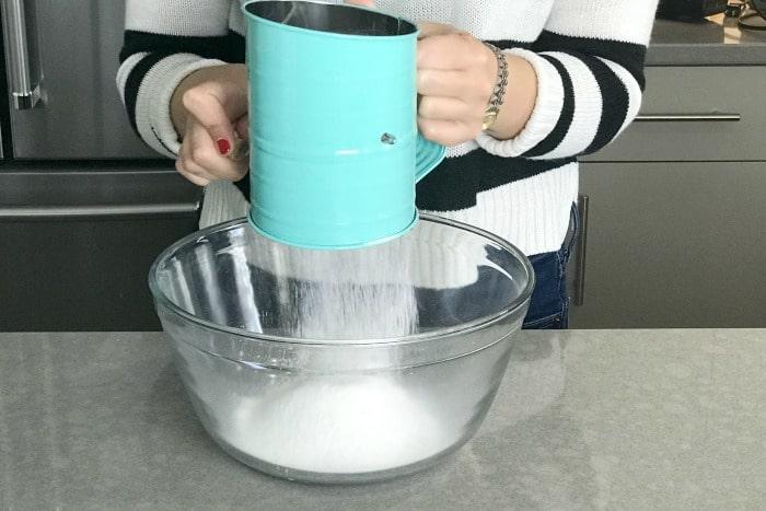 Baking terminology demonstration: sifting
